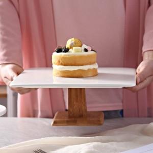 10 'スクエアセラミックケーキスタンド装飾磁器木材コンポートサービングトレイ食器用プリンシフォンケーキマフィンティラミス