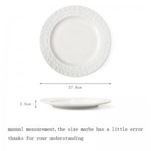 11インチヨーロッパスタイルプレートセラミックエンボス装飾皿家庭用食器類食器ステーキスパゲッティ皿ケーキソーサー