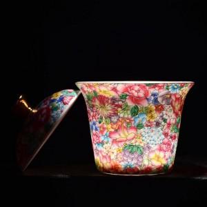 175ミリリットル手描き塗装エナメルカラーガイワンセラミック磁器酒器オフィスカンフー茶セット茶碗付き蓋キットギフト