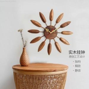 17インチ木製壁掛け時計リビングルームの壁掛け時計モダンデザインテーブル寝室クリエイティブホームミュート農家の装飾