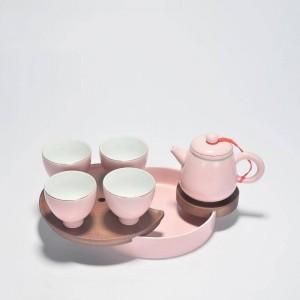180ミリリットルブリーフピンクセラミック磁器ティーポットオフィスカンティーセットpuer Tieguanyin茶ケトル手作りの酒器送信友達プレゼント