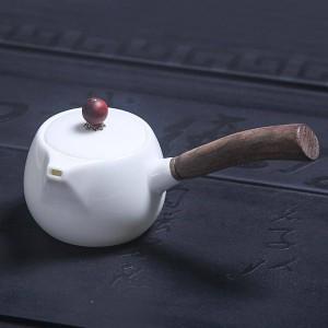 180ミリリットル簡単ホワイトティーポットセラミック翡翠磁器天然木材ハンドルポットティーメーカーやかんカンフーティーセット酒器クラフト