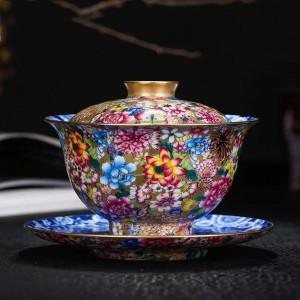 180ミリリットルガイワン手描きのエナメル貴族茶碗セラミック磁器酒器茶器ホームデコレーションコレクションギフト