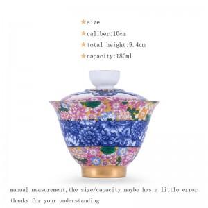 180ミリリットル磁器シルバーガイワンオフィス茶道マスター茶碗ふたソーサーハンド塗装エナメルパターン酒器