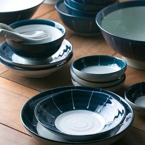 1人/ 2人/ 6人陶磁器の食器セット紺色のセラミックボールロング寿司和風磁器ディナーセット