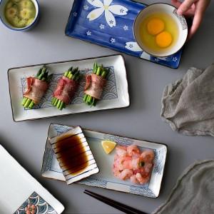 1ピース10インチ和風ディナープレートセラミック寿司セット魚料理食器長方形ホームバーベキュー料理ソースソーサー