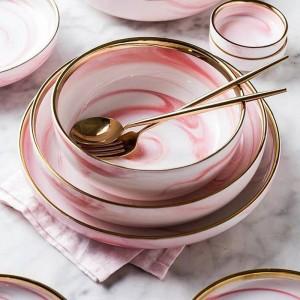 1ピースピンク大理石セラミックディナー皿プレートライスサラダ麺ボウルスーププレート食器セットホーム食器キッチンクックツール