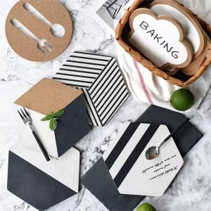 1ピースオリジナルデザイン六角シリーズジオメトリコルクパッドパッド現代北欧風黒と白のコルクパッドマット抗ホットプレートパッド