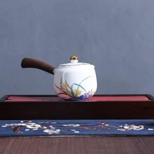 210ミリリットルクリエイティブハンドルティーポット手描きの白い磁器茶器酒器カンフー茶セットやかんミルクポット装飾工芸品