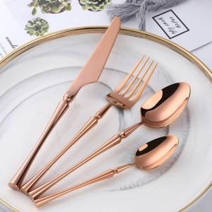 24個/ 6セットローズゴールドカトラリーステンレス鋼18/10トレンド製品食器スタイリッシュMordenカトラリー304シルバーウェア