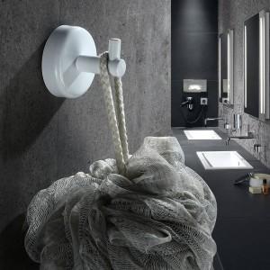 2ピースステンレス鋼シングルローブフック壁掛けマウントタオルフックホワイト/ブラック塗装服フックフックバスルームハードウェア