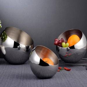 304銀ステンレス鋼斜めボウルビュッフェ調味料タンク球形カウンタートップフルーツボウルの箱ドライフルーツスナック皿