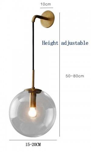 北欧モダンLEDウォールランプグレー/クリアガラスボールランプシェードバスルームミラーベッドルームの横に壁ライト取り付け用燭台ホーム照明