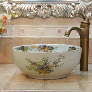 35センチミニクラック花と鳥手作りラヴァボ洗面台芸術的なバスルームのシンクセラミック洗面台小