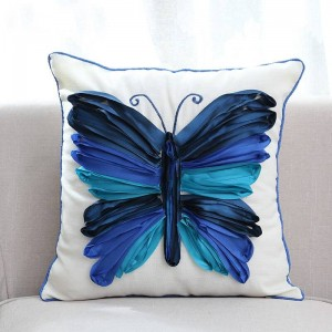 3d蝶刺繍装飾スロークッションカバー高級ハイエンドピローケース用寝具ソファalmofadas decorativas