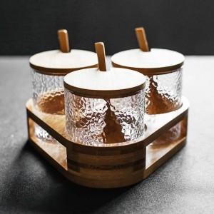 ハンマー型ガラス調味料瓶調味料箱セットスパイス&ペッパーシェーカーシュガーソルトチリポットキッチンツール3点セット