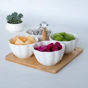 4ピース/セットトレイ付きフォーククリエイティブセラミックフルーツボウルサラダボウル仕切りフルーツサラダスナックプレートドライフルーツプレート和食