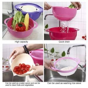 4ピースザルセットセットストレーナーバスケットプラスチックスタッカブルフルーツ野菜洗浄バスケット水切り器洗浄米ふるいキッチンバスケットツール