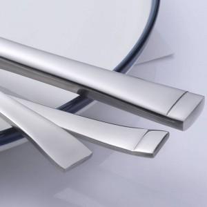 5ピースステンレス鋼食器セットスクエアエッジサービス用ナイフフォークスプーン食器5ピース/セット食器高品質