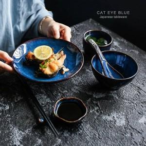5個入りセットディープブルーセラミック食器1人ディナーセットプレートボウルカップ醤油皿磁器食器