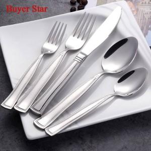 5ピース/セット真珠のようなエッジ食器セット18/8ステンレス鋼カトラリー食器サービス用ナイフスプーンとフォーク食器セット