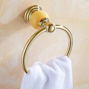 61クリスタルシリーズゴールドポリッシュ真鍮製タオルリング付きクリスタル壁掛けタオル棚バスルームアクセサリータオルリング