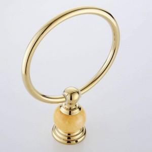 62翡翠シリーズゴールドポリッシュ真鍮製タオル掛け翡翠ウォールマウントタオル棚バスルームアクセサリータオルリング