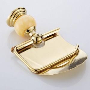 62翡翠シリーズ黄金洗練された真鍮製翡翠トイレットペーパーホルダーバスルームアクセサリーペーパーシェルフトイレット化粧台ペーパーラック