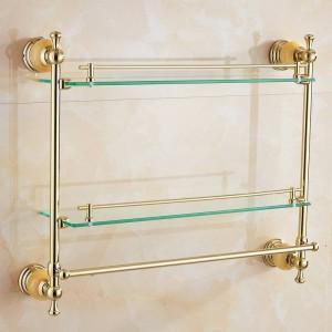 62翡翠シリーズゴールデンポリッシュダブルバスルーム棚バスルームアクセサリータオルバー&フック付きガラス化粧棚