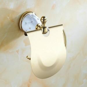 ダイヤモンドの壁に取り付けられた浴室の付属品のペーパー棚が付いている63GDシリーズ金ポリッシュペーパーホルダー