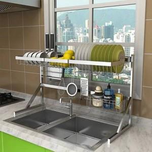 64/84センチステンレス鋼乾燥ボウルシンクラック排水キッチンラック用品2層収納ラックプール入れ皿ラック食器棚