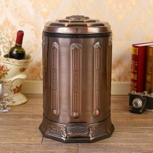 6lステンレス鋼アンティークゴミ箱家庭ごみ缶蓋付きブロンズごみ箱ホームオフィスキッチンバスルームブラック