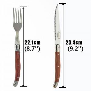 6ピースラギオールステーキナイフフォークセットステンレス鋼日本カトラリーウッドディナーナイフとフォーク木製ハンドル食器セット