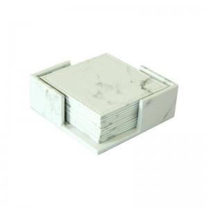 6ピース/セットマーブリングプリントpuコースター現代カップマットコーヒーコースターカップマットパッドホワイトデスクトップ滑り止めパッドテーブルデコレーション