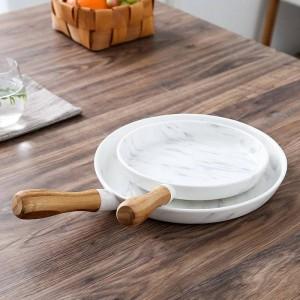 8と10インチ木製ハンドル大理石のディナープレート皿セットデザートプレート食器ケーキ皿デザートトレイ