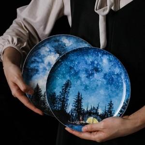 8インチスター骨朝食プレートギフト皿食器家の装飾手作りセラミックプレートケーキペストリーフルーツケーキプレート