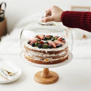 9 ''セラミックコンポートケーキスタンド装飾磁器デザートトレイガラスカバーサービング食器用生年月日と結婚式