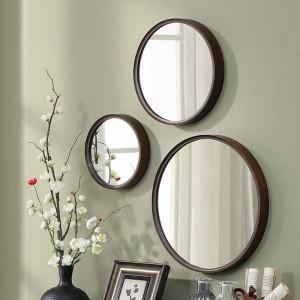 A1 1パックスタイル木材ラウンド浴室ミラー壁掛け寝室ミラードレッシングテーブルデコレーション化粧鏡wx 8231340