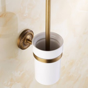 AB1シリーズアンティーク真鍮バスルームアクセサリートイレブラシホルダー付きカップセット壁掛け衛生用品7008A