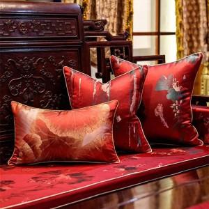 アンティーク刺繍クッションカバー赤い植物cojines decorativosパラソファ投げ枕カバーソフトクッションHousse De Coussin