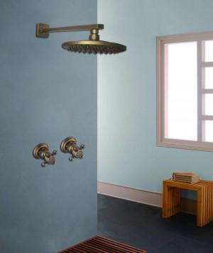 """アンティーク壁掛けシャワー蛇口セット8 """"真鍮雨シャワーヘッドシングルレバーシャワーミキサータップ隠しインストールシャワーXT 391"""