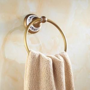 AP1シリーズアンティーク真鍮タオルリング磁器ベース壁掛け浴室用アクセサリータオル棚タオルホルダー