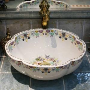 芸術的な磁器ヨーロッパヴィンテージスタイルアート洗面台セラミックカウンタートップ洗面台浴室シンクシンク容器花の形