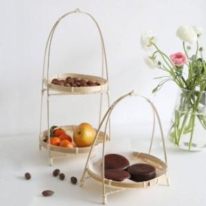 竹製織ウィッカーバスケット料理手作りホーム飾る収納フルーツパン食品用キッチンオーガナイザーパニエオシエ