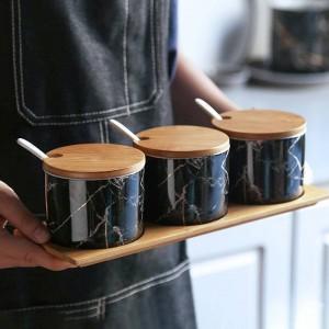 竹木材セラミックス調味料大理石スパイスジャー鍋セット塩コショウシェーカー調味料スプレー調理キッチンツール