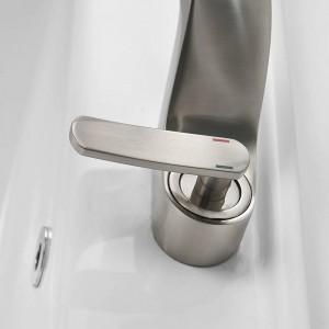 洗面台の蛇口浴室のシンクの蛇口起毛ニッケルタップ洗面器の蛇口ミキサーシングルハンドル穴デッキウォッシュコールドミキサータップクレーン