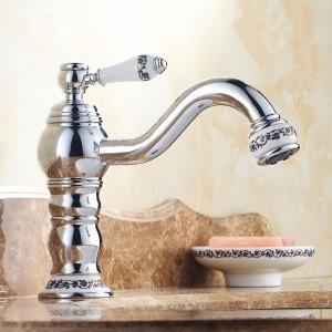 流域の蛇口アンティーク真鍮浴室のシンクの蛇口シングルハンドル360回転高注ぎ口デッキマウントミキサーウォータータップタップJCS-5868F
