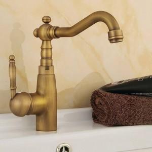 洗面台の蛇口アンティーク真鍮浴室のシンクの蛇口スイベルスパウトシングルハンドル風呂デッキホット&コールドミキサー水道水栓HJ6717F