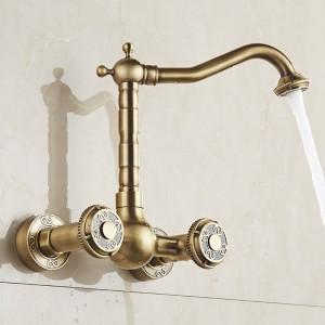 流域の蛇口アンティーク真鍮壁掛けキッチン浴室のシンクの蛇口デュアルハンドルスイベルスパウトホット冷水ミキサータップLAD-18003