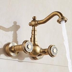 流域の蛇口アンティークブロンズ真鍮浴室キッチン蛇口スイベル壁掛けデュアルハンドルホットコールドミキサータップWCタップLAD-18002
